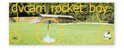 a boy a camera and a rocket